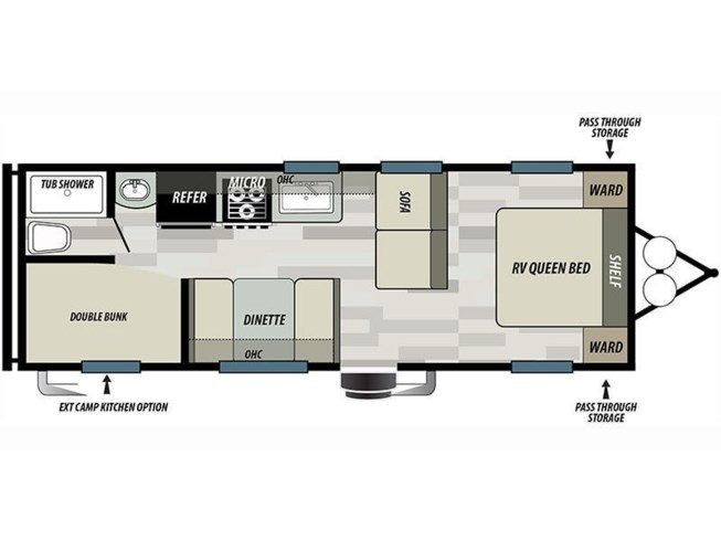 Floorplan of 2021 Forest River Salem Cruise Lite 261BHXL