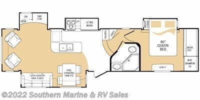 Floorplan of 2008 Keystone Everest 348R