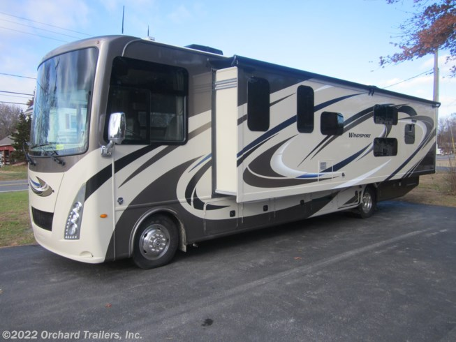 2019 Thor Motor Coach Windsport 34J - New Class A For Sale by Orchard Trailers, Inc. in Whately, Massachusetts features Air Conditioning, Auxiliary Battery, Awning, Backup Monitor, Booth Dinette, Bunk Beds, CD Player, CO Detector, DVD Player, Exterior Speakers, External Shower, Generator, King Size Bed, Ladder, Leveling Jacks, LP Detector, Medicine Cabinet, Microwave, Outside Entertainment Center, Outside Kitchen, Oven, Power Entrance Step, Refrigerator, Roof Vents, Shower, Skylight, Slideout, Slide-out Awning, Smoke Detector, Stove Top Burner, Toilet, TV, Water Heater