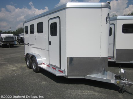<p>2020 Adam Mustang 3-horse slant-load trailer. All-aluminum, commercial-grade construction. Large collapsible rear tack-room. Escape door on front stall. Drop-feed windows. Large dressing room. Torsion axles. Call today for more info!</p>