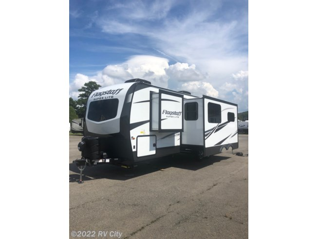 2021 Forest River Flagstaff Super Lite 26RBWS - New Travel Trailer For Sale by RV City in Benton, Arkansas features Air Conditioning, Auxiliary Battery, Awning, Booth Dinette, CD Player, CO Detector, DVD Player, Exterior Grill, Exterior Speakers, External Shower, Ladder, Leveling Jacks, LP Detector, Medicine Cabinet, Microwave, Oven, Queen Bed, Refrigerator, Roof Vents, Shower, Skylight, Slideout, Smoke Detector, Spare Tire Kit, Stove Top Burner, Surround Sound System, Toilet, TV, Water Heater