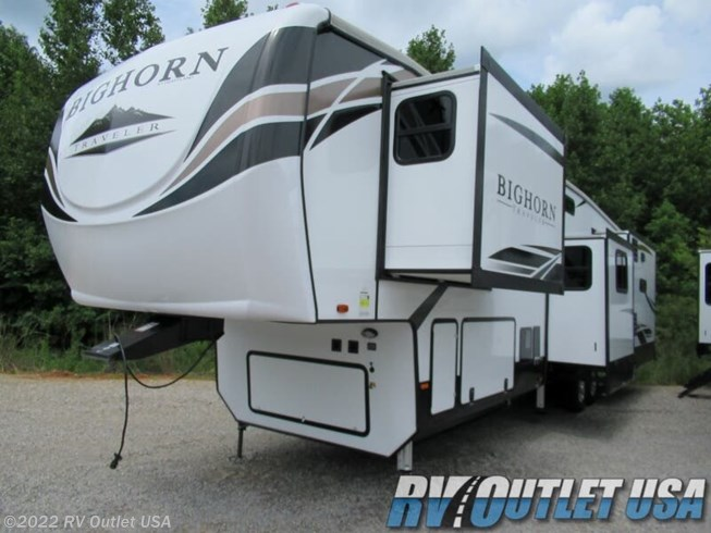2020 Heartland Bighorn Traveler 39MB - New Fifth Wheel For Sale by RV Outlet USA in Ringgold, Virginia features 50 Amp Service, Air Conditioning, Alloy Wheels, Aluminum Entrance Steps, AM/FM/CD, Automatic Leveling Jacks, Auxiliary Battery, Batteries, Battery Charger, Black Tank Flush, Cable Prepped, Central Vacuum, CO Detector, Converter, Detachable Power Cord, DVD Player, Enclosed Underbelly, Enclosed Water Tank, Exterior Speakers, External Shower, Fireplace, Free Standing Dinette w/Chairs, Furnace, Heated Underbelly, Heated Water Tank, Hide-A-Bed, Inverter, Island Kitchen, King Size Bed, Ladder, LED HDTV, LED Lights, Load Lights, LP Detector, Microwave, Oven, Overhead Cabinetry, Pantry, Pass Thru Storage, Pleated Shades, Power Awning, Power Roof Vent, Powered Landing Legs, Propane, Recliner(s), Refrigerator, Roof Vent, Screen Door, Second Roof A/C, Skylight, Slideout, Smoke Detector, Solid Surface Countertops, Spare Tire Kit, Stainless Appliances, Stereo System, Stove Cover, Stove Top Burner, Theater Seating, Tinted Windows, TV, TV Antenna, Wardrobe(s), Washer/Dryer Prep, Water Heater