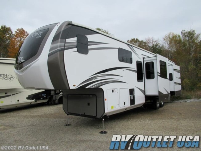 2020 Jayco North Point 383FKWS - New Fifth Wheel For Sale by RV Outlet USA in Ringgold, Virginia features 50 Amp Service, Air Conditioning, Automatic Leveling Jacks, Auxiliary Battery, Black Tank Flush, Booth Dinette, Cable Prepped, Central Vacuum, CO Detector, Convection Microwave, Converter, Exterior Speakers, External Shower, Fiberglass Sidewalls, Fire Extinguisher, Fireplace, Furnace, Heated Underbelly, Hide-A-Bed, King Size Bed, Kitchen Sink, Ladder, Leveling Jacks, LP Detector, Medicine Cabinet, Mor-Ryde Pin Box, Mor-Ryde Suspension, Outside Entertainment Center, Oven, Overhead Cabinetry, Pantry, Power Awning, Power Roof Vent, Propane, Refrigerator, Rocker Recliner(s), Roof Vents, Satellite Prepped, Second Roof A/C, Shower, Slideout, Smoke Detector, Spare Tire Kit, Stereo System, Stove Top Burner, Theater Seating, Tinted Windows, Toilet, TV, Wardrobe(s), Water Heater
