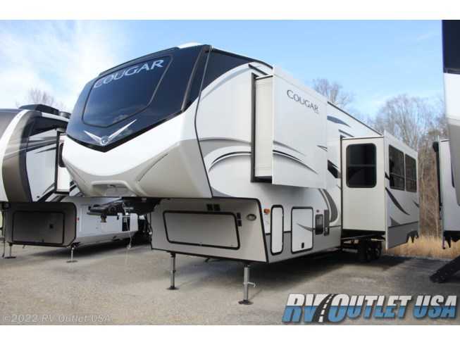2020 Keystone Cougar 364BHL - New Fifth Wheel For Sale by RV Outlet USA in Ringgold, Virginia features 50 Amp Service, Air Conditioning, Alloy Wheels, Aluminum Entrance Steps, Automatic Leveling Jacks, Auxiliary Battery, Bath & 1/2, Battery Charger, Bluetooth Stereo, Booth Dinette, Bunk Beds, Bunkhouse, Cable Prepped, CD Player, CO Detector, Converter, Detachable Power Cord, Dinette Bed, DVD Player, Enclosed Underbelly, Enclosed Water Tank, Exterior Grill, Exterior Refrigerator, Exterior Speakers, External Shower, Fireplace, Front Fiberglass Cap w/Window, Furnace, Glass Shower Door, Heated Underbelly, Heated Water Tank, Hide-A-Bed, Island Kitchen, LED HDTV, LED Lights, Load Lights, LP Detector, Medicine Cabinet, Microwave, Outside Kitchen, Oven, Overhead Cabinetry, Pass Thru Storage, Power Awning, Power Roof Vent, Propane, Queen Bed, Queen Mattress, Recliner(s), Refrigerator, Roof Vent, Roof Vents, Screen Door, Second Roof A/C, Shower, Slideout, Smoke Detector, Solid Surface Countertops, Sound Bar, Spare Tire Kit, Stove Top Burner, Theater Seating, Tinted Windows, Toilet, TV Antenna, Wardrobe(s), Water Heater