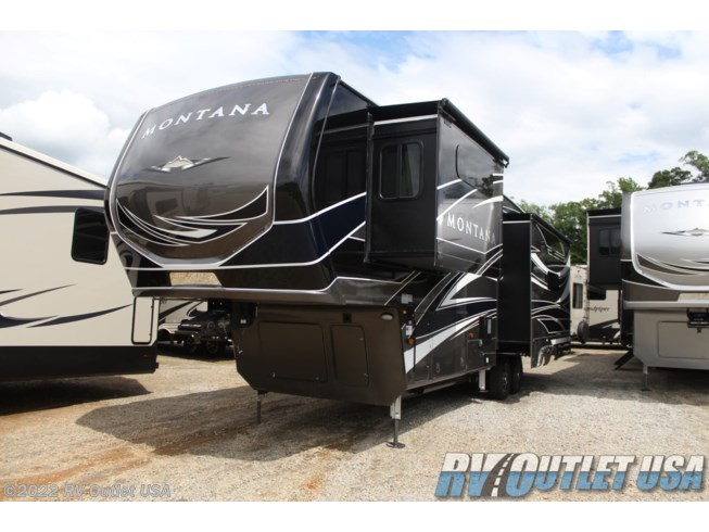 2020 Keystone Montana Legacy 3121RL - New Fifth Wheel For Sale by RV Outlet USA in Ringgold, Virginia features 50 Amp Service, Air Conditioning, Alloy Wheels, Aluminum Entrance Steps, AM/FM/CD, Automatic Leveling Jacks, Auxiliary Battery, Backup Camera, Backup Monitor, Black Tank Flush, Cable Prepped, Ceiling Fan, Central Vacuum, CO Detector, Convection Microwave, Converter, DVD Player, Enclosed Underbelly, Enclosed Water Tank, Exterior Speakers, External Shower, Fireplace, Free Standing Dinette w/Chairs, Full Body Paint, Furnace, Glass Shower Door, Heat Pump, Heated Underbelly, Heated Water Tank, Hide-A-Bed, Hitch, Icemaker, Inverter, Island Kitchen, King Size Bed, Ladder, LED HDTV, LED Lights, Load Lights, LP Detector, Medicine Cabinet, Oven, Overhead Cabinetry, Pantry, Pass Thru Storage, Pleated Shades, Power Awning, Power Roof Vent, Powered Landing Legs, Propane, Recliner(s), Residential Refrigerator, Roof Vent, Roof Vents, Screen Door, Second Roof A/C, Shower, Side View Cameras, Skylight, Slam Latch Baggage Doors, Slideout, Slide-out Awning, Smoke Detector, Solid Surface Countertops, Spare Tire Kit, Stainless Appliances, Stereo System, Stove Top Burner, Theater Seating, Tinted Windows, TV, TV Antenna, Wardrobe(s), Washer/Dryer Prep, Water Heater