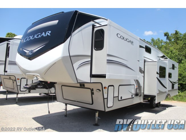2021 Keystone Cougar 368MBI - New Fifth Wheel For Sale by RV Outlet USA in Ringgold, Virginia features 50 Amp Service, Air Conditioning, Alloy Wheels, AM/FM/CD, Automatic Leveling Jacks, Auxiliary Battery, Battery Charger, Black Tank Flush, Booth Dinette, Cable Prepped, CO Detector, Converter, Detachable Power Cord, Dinette Bed, DVD Player, Enclosed Underbelly, Enclosed Water Tank, Exterior Grill, Exterior Speakers, External Shower, Fire Extinguisher, Fireplace, Furnace, Glass Shower Door, Heated Underbelly, Heated Water Tank, Hide-A-Bed, Island Kitchen, King Size Bed, LED HDTV, LED Lights, Load Lights, LP Detector, Medicine Cabinet, Microwave, Outside Kitchen, Oven, Overhead Cabinetry, Pantry, Pass Thru Storage, Pleated Shades, Power Awning, Powered Landing Legs, Propane, Recliner(s), Refrigerator, Roof Vent, Roof Vents, Screen Door, Second Roof A/C, Shower, Skylight, Slideout, Smoke Detector, Solar Prep, Solid Surface Countertops, Spare Tire Kit, Stainless Appliances, Stereo System, Stove Top Burner, Theater Seating, Tinted Windows, TV, TV Antenna, Wardrobe(s), Washer/Dryer Prep, Water Heater
