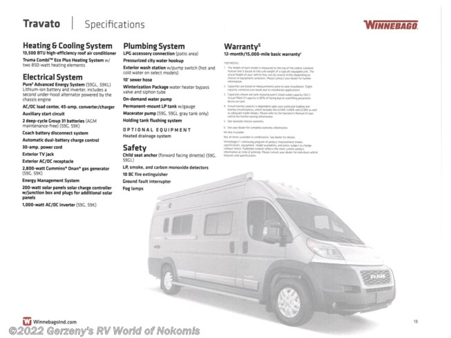 New 2022 Winnebago Travato available in Nokomis, Florida
