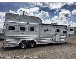 "#603128s - 2018 Platinum Coach Outlaw 3 Horse 12' 8"" SW Outlaw SLIDE OUT w/ 72"" Sofa!"