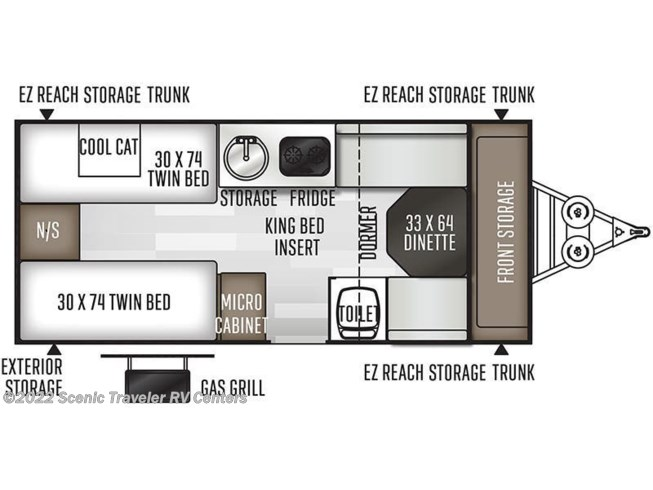 Floorplan of 2021 Forest River Flagstaff Hard Side T21TBHW