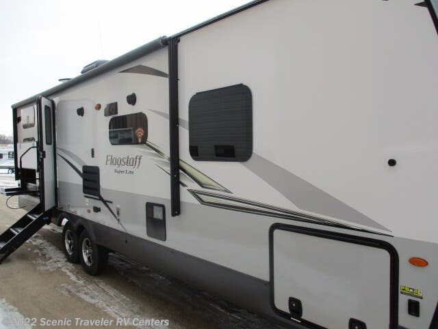 2020 Forest River Flagstaff Super Lite 27BHWS - New Travel Trailer For Sale by Scenic Traveler RV Centers in Baraboo, Wisconsin features Air Conditioning, Auxiliary Battery, Awning, CD Player, CO Detector, DVD Player, Exterior Grill, Exterior Speakers, External Shower, Furnace, Ladder, Leveling Jacks, LP Detector, Medicine Cabinet, Microwave, Outside Kitchen, Oven, Queen Bed, Refrigerator, Roof Vents, Shower, Skylight, Slideout, Smoke Detector, Spare Tire Kit, Stove, Stove Top Burner, Surround Sound System, Toilet, TV, TV Antenna, U-Shaped Dinette, Water Heater