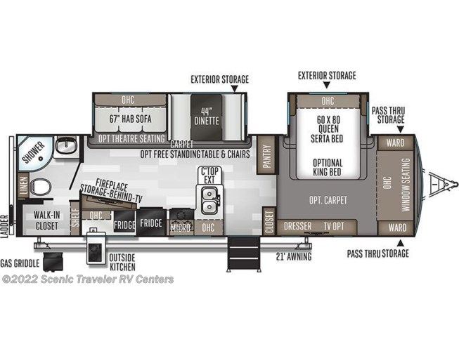 2020 Forest River Flagstaff Super Lite 29RBS floorplan image