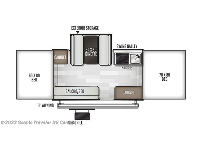 Floorplan of 2021 Forest River Flagstaff 228D
