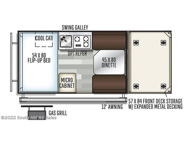 Floorplan of 2019 Forest River Rockwood Extreme Sports Package A122THESP