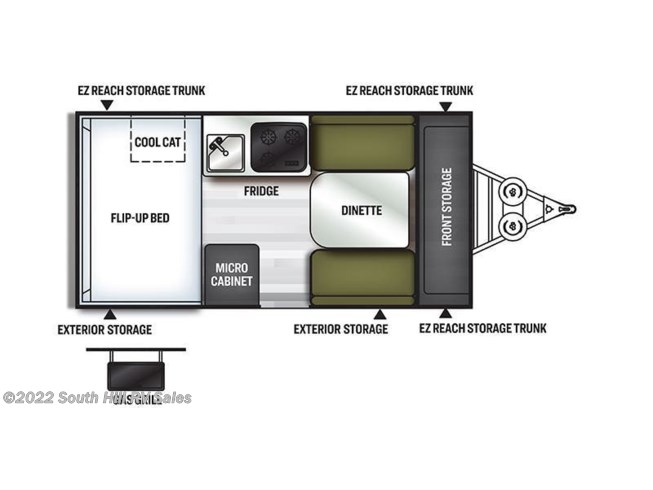 Floorplan of 2021 Forest River Rockwood Hard Side A122S