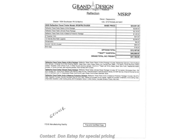 2020 Grand Design Reflection 287RLTS - New Travel Trailer For Sale by Don Estep  & Chip Grady in Southaven, Mississippi