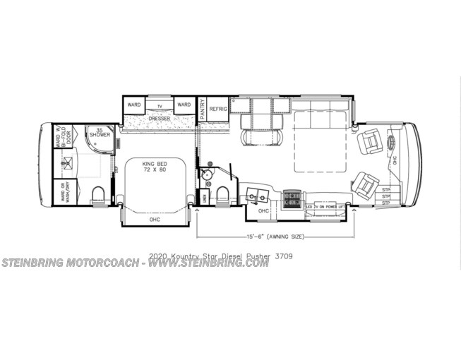 Floorplan of 2020 Newmar Kountry Star 3709 SOLD