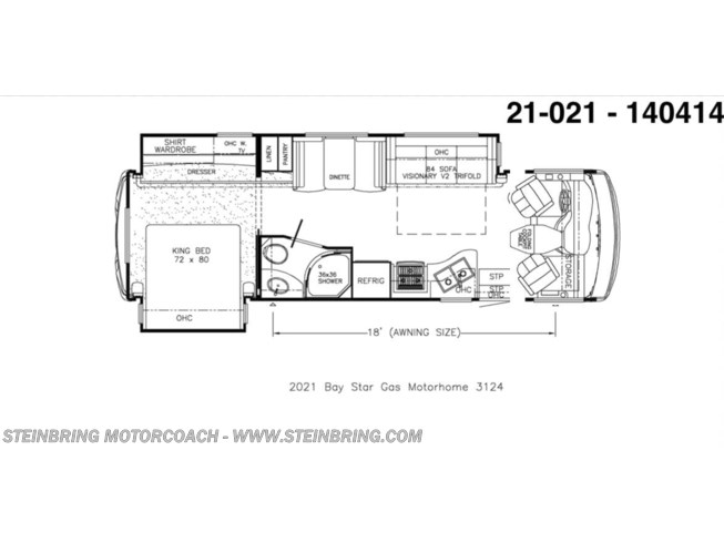 Floorplan of 2021 Newmar Bay Star 3124