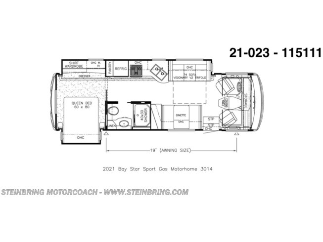 Floorplan of 2021 Newmar Bay Star Sport 3014 WITH 2 POWER SLIDEOUTS