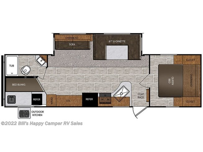 Floorplan of 2018 Prime Time Avenger ATI 27DBS