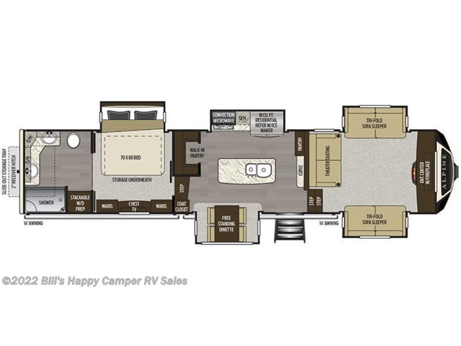 Floorplan of 2019 Keystone Alpine 3711KP