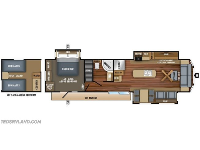 2018 Jayco Jay Flight Bungalow 40LOFT floorplan image