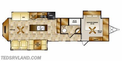 Floorplan of 2012 CrossRoads Hampton HT380CK