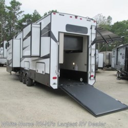 "White Horse RV Center (Galloway Twp) 2018 Momentum 376TH Five Slider Below Floor 9'0"" Garage  Toy Hauler by Grand Design 