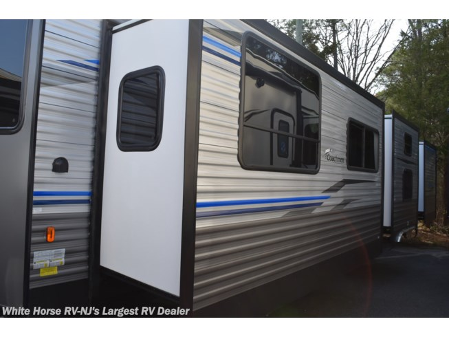 2020 Coachmen Catalina Destination 39FKTS - New Destination Trailer For Sale by White Horse RV Center (Galloway Twp) in Egg Harbor City, New Jersey features Air Conditioning, Auxiliary Battery, Awning, Booth Dinette, Bunk Beds, CD Player, Ceiling Fan, CO Detector, DVD Player, Exterior Speakers, External Shower, Fireplace, Leveling Jacks, LP Detector, Medicine Cabinet, Microwave, Outside Entertainment Center, Oven, Queen Bed, Refrigerator, Roof Vents, Shower, Skylight, Slideout, Smoke Detector, Stove Top Burner, Toilet, TV, Water Heater