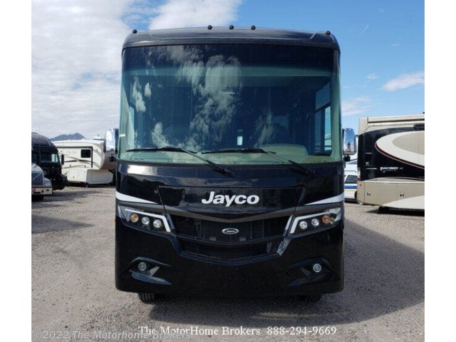 2019 Jayco Precept 36A (SOLD) - Used Class A For Sale by The Motorhome Brokers in Salisbury, Maryland features 50 Amp Service, Air Conditioning, Automatic Leveling Jacks, Backup Camera, Backup Monitor, Batteries, Battery Charger, Blu-Ray Player, Booth Dinette, Bunk Beds, Bunkhouse, Cable Prepped, CD Player, CO Detector, Convection Microwave, DVD Player, Exterior Speakers, External Shower, Fantastic Fan, Fire Extinguisher, Full Body Paint, Furnace, Generator, Glass Shower Door, Hitch, Icemaker, Inverter, King Size Bed, LED HDTV, LP Detector, Medicine Cabinet, Multi Media Sound System w/Input Jacks, Non-Smoking Unit, Outside Entertainment Center, Oven, Overhead Cabinetry, Pass Thru Storage, Power Awning, Power Entrance Step, PVC Roof, Refrigerator, Residential Refrigerator, Roof Vents, Satellite Prepped, Second Roof A/C, Self Contained, Shower, Side View Cameras, Skylight, Slam Latch Baggage Doors, Slideout, Slide-out Awning, Smoke Detector, Sofa Bed, Solid Surface Countertops, Stainless Appliances, Stove, Stove Cover, Toilet, TV Antenna, Two Full Baths, Wardrobe(s), Washer/Dryer Combo, Water Heater