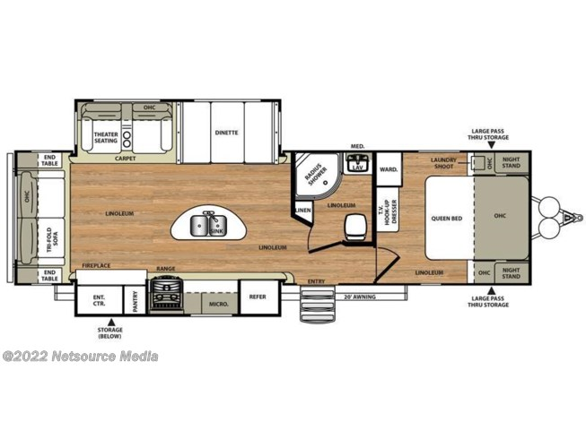 2016 Forest River Wildwood Heritage Glen 272RL floorplan image