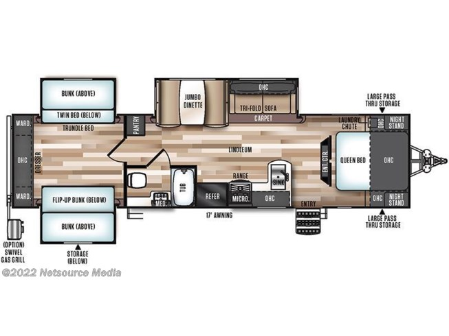 2017 Forest River Wildwood Heritage Glen 311QB floorplan image