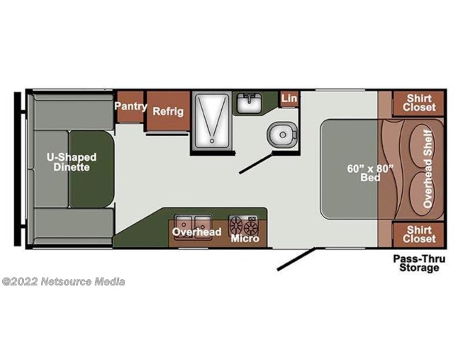 2017 Gulf Stream StreamLite Ultra Lite 22UDL floorplan image