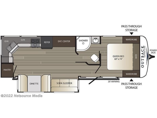 Floorplan of 2019 Keystone Outback 260UML