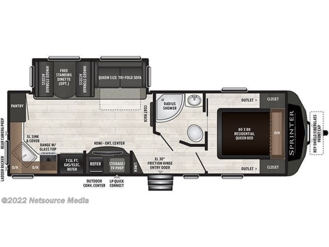 Floorplan of 2020 Keystone Sprinter Campfire 26RK