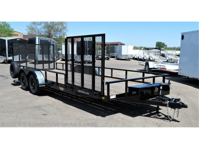 2018 H&H  8.5x20TA Rail Side Utility Trailer - Black
