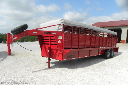 Livestock Trailer - 2019 Coose 6'8x24'x6'6 Ranch Hand Tarp Top Rubber Floor Stock available New in Fairland, OK