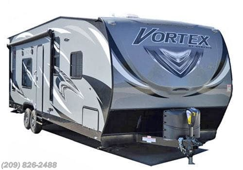 2019 Genesis Supreme Vortex 1914V - New Toy Hauler For Sale by Toscano RV in Los Banos, California features Air Conditioning, AM/FM/CD, Auxiliary Battery, CO Detector, Enclosed Water Tank, Exterior Speakers, External Shower, Furnace, LP Detector, Medicine Cabinet, Microwave, Power Awning, Queen Bed, Refrigerator, Self Contained, Shower, Smoke Detector, Spare Tire Kit, Stove, Stove Top Burner, Toilet, TV Antenna, Water Heater