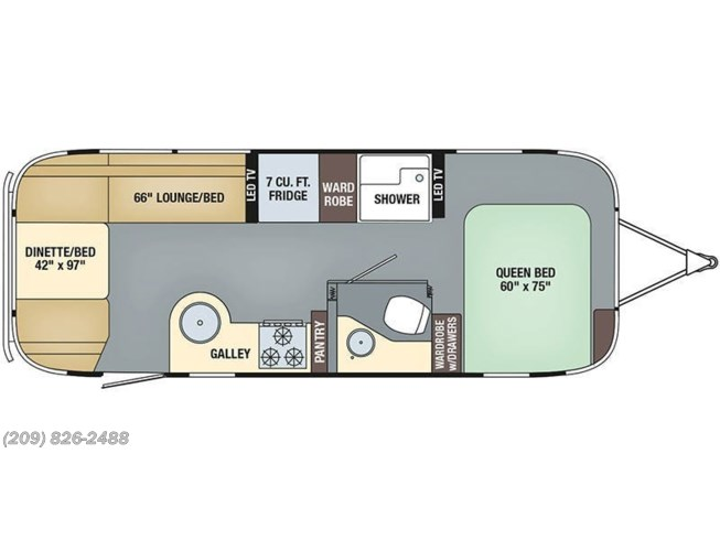 2018 Airstream Flying Cloud 25FB floorplan image