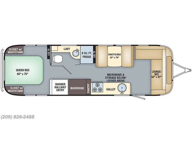 Floorplan of 2019 Airstream Flying Cloud 30RB