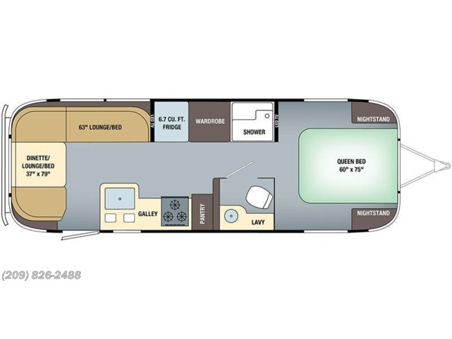Floorplan of 2019 Airstream Globetrotter 27FB