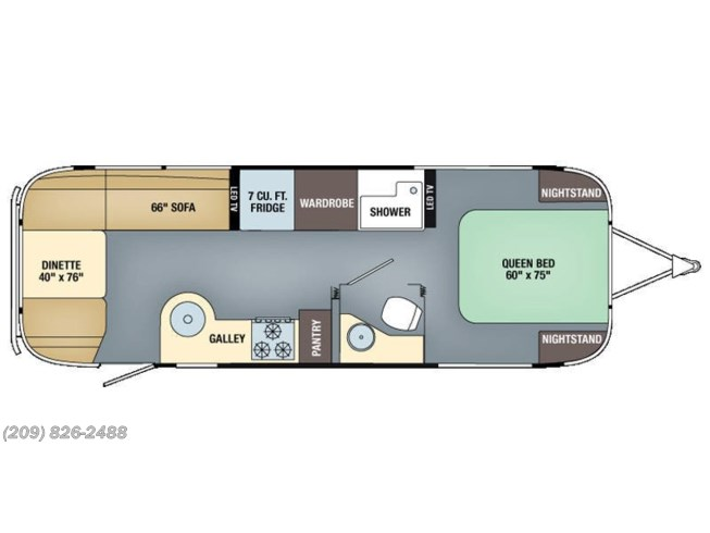2016 Airstream Flying Cloud 27FB floorplan image