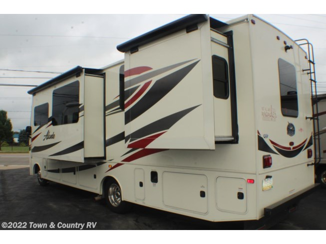 2016 Jayco Alante 31V - Used Class A For Sale by Town & Country RV in Clyde, Ohio features Air Conditioning, Auxiliary Battery, Awning, Backup Monitor, Booth Dinette, CD Player, CO Detector, DVD Player, Exterior Speakers, External Shower, Generator, Hitch, Ladder, LP Detector, Medicine Cabinet, Microwave, Outside Entertainment Center, Oven, Power Entrance Step, Power Roof Vent, Queen Bed, Refrigerator, Roof Vents, Shower, Skylight, Slideout, Slide-out Awning, Smoke Detector, Stove Top Burner, Toilet, TV, Water Heater