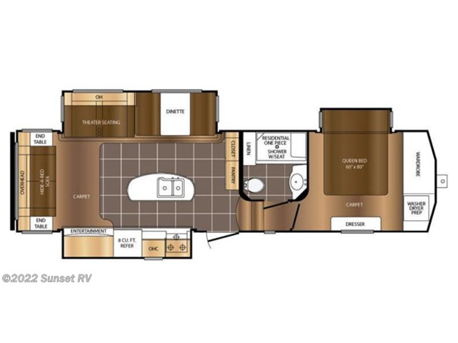2016 Prime Time Crusader 315RST floorplan image