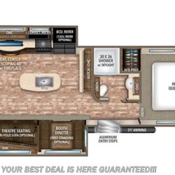 2017 Grand Design Reflection 312BHTS floorplan image