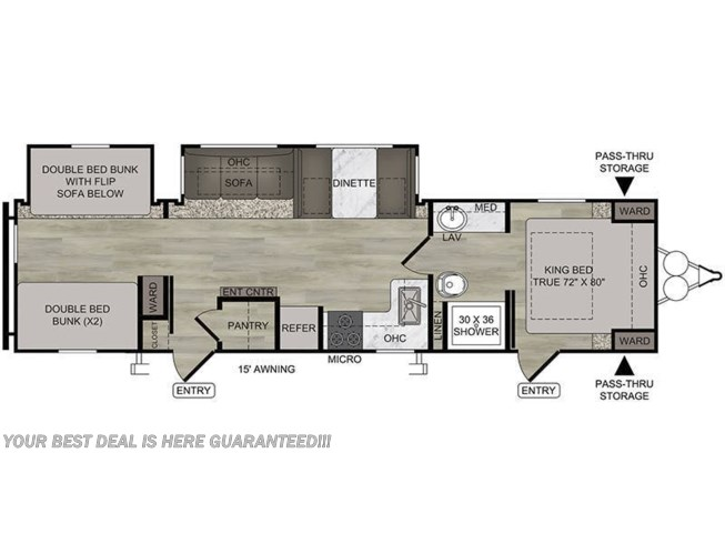 2020 East to West Della Terra 312BH floorplan image