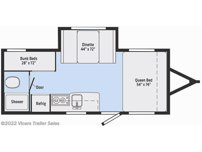 Floorplan of 2019 Winnebago Micro Minnie 2100BH  (Blue/Stone)