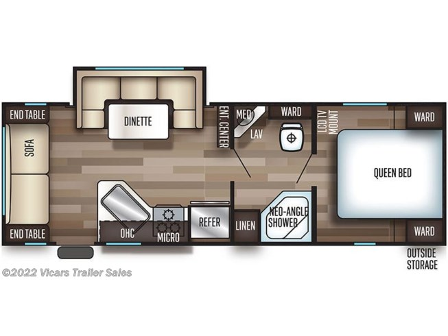 Floorplan of 2021 Forest River Cherokee Grey Wolf 23MK