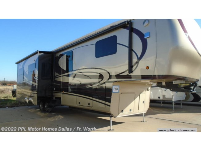 2015 DRV Tradition 384RSS - Used Fifth Wheel For Sale by PPL Motor Homes in Cleburne, Texas features Air Conditioning, Dryer, DVD Player, External Shower, Icemaker, Microwave, Non-Smoking Unit, Refrigerator, Satellite Dish, Slideout, Spare Tire Kit, Stabilizer Jacks, Stove, TV, Water Heater