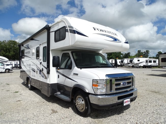 2018 Forest River Forester 2501TS - Used Class C For Sale by Courvelle's RV in Opelousas, Louisiana features 30 Amp Service, Air Conditioning, AM/FM/CD, Auxiliary Battery, Backup Camera, Backup Monitor, Black Tank Flush, CO Detector, Exterior Speakers, External Shower, Fiberglass Sidewalls, Fire Extinguisher, Generator, Glass Shower Door, Hitch, Kitchen Sink, Leather Furniture, LED Lights, LP Detector, Medicine Cabinet, Microwave, Mini Blinds, Non-Smoking Unit, Oven, Pantry, Pass Thru Storage, Pocket Door(s), Power Awning, Power Roof Vent, Propane, Queen Bed, Refrigerator, Roof Vents, Satellite Radio, Screen Door, Self Contained, Shower, Skylight, Slideout, Slide-out Awning, Smoke Detector, Spare Tire Kit, Stove Top Burner, Surround Sound System, Tinted Windows, Toilet, TV, TV Antenna, U-Shaped Dinette, Vanity, Wardrobe(s), Water Heater