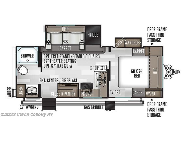 Floorplan of 2021 Forest River Flagstaff Micro Lite 25FBLS